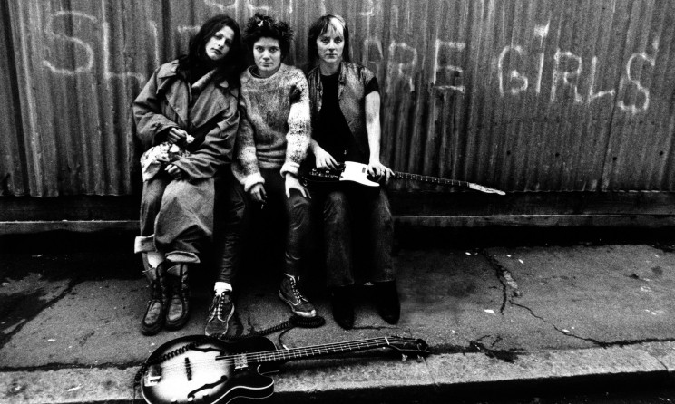 Members of British punk group The Slits, minus a bass player, in Daventry Street London, NW1, 1977. Left to right: singer Ari Up (Ariane Forster, 1962 - 2010), drummer Palmolive (Paloma Romero) and guitarist Kate Korus. (Photo by Julian Yewdall/Getty Images)