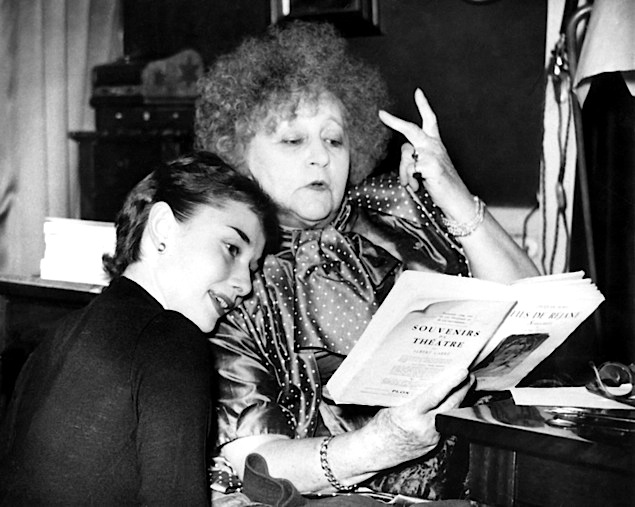 AUDREY HEPBURN, preparing for the Broadway adaptation of GIGI, gets some advice from its author, COLETTE
