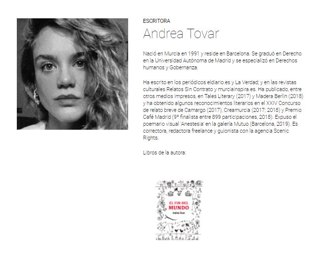 """Andrea Tovar y su nuevo libro, """"El fin del mundo""""."""